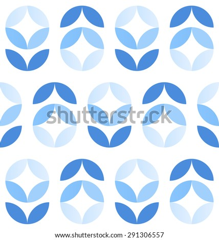 Abstract geometric seamless pattern of fantasy flowers in winter colors - stock vector