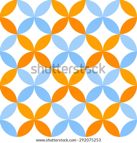 Abstract geometric seamless pattern of petals in maritime mood - stock vector