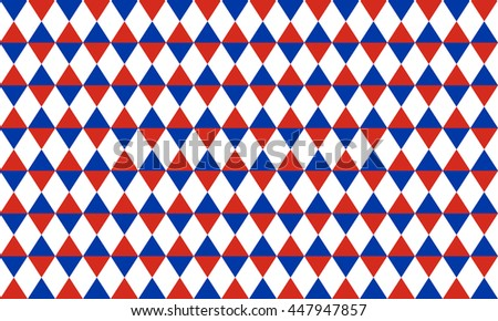 Abstract geometric seamless pattern of rhombus in blue, red and white colors - stock vector