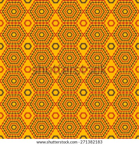 Abstract geometric seamless pattern. Orange and yellow style pattern. Endless texture for wallpaper, fill, web page background, surface texture. - stock vector