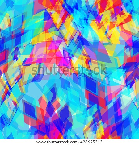Abstract geometric seamless pattern with rhombus and brilliant decorative contemporary elements. yellow purple pink blue aqua print, ethnic hipster trendy backdrop. Vector - stock vector