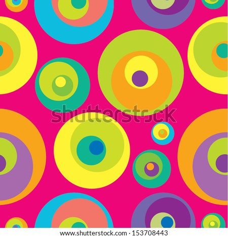 Abstract geometric seamless pattern with varicolored circles. Vector illustration. - stock vector