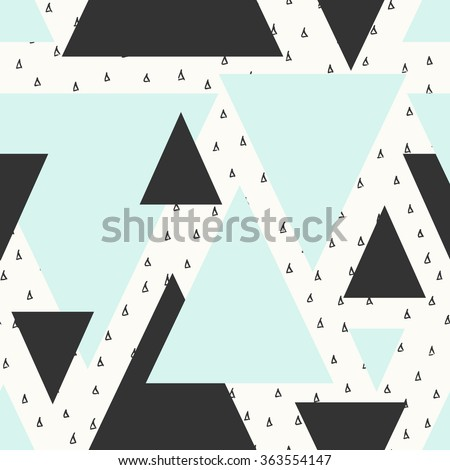Abstract geometric seamless repeat pattern in black, cream and blue. Modern and stylish abstract design poster, cover, card design. - stock vector