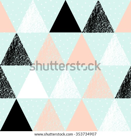 Abstract geometric seamless repeat pattern in black, white, pink and pastel blue. Hand drawn vintage texture, dots pattern and geometric elements. Modern abstract design poster, cover, card design. - stock vector