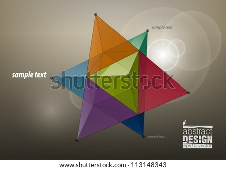 Abstract geometric shape from pyramids, for graphic design, eps10 vector - stock vector
