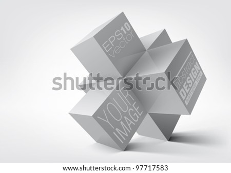 Abstract geometric shapes from cubes over white background. Vector illustration. - stock vector