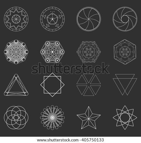 Abstract geometric shapes, futuristic wavy fractal of star and circle. Vector square and other different decorative elements. Cool geometric illustration in grey color - stock vector