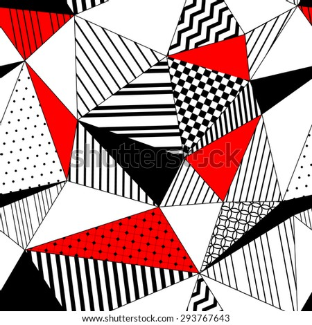 Abstract geometric striped triangles seamless pattern in black white and red, vector - stock vector