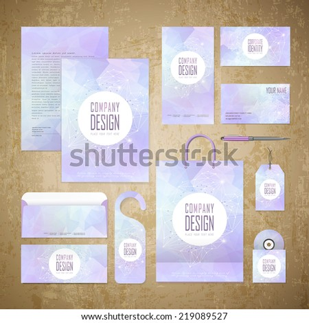 abstract geometric style corporate identity template set - stock vector