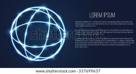 Abstract geometric technology shape of glowing particles .Broken light/neon dots and lines sphere wireframe.Network connection.Neon grid globe.Futuristic background .Vector digital 3d illustrations . - stock vector