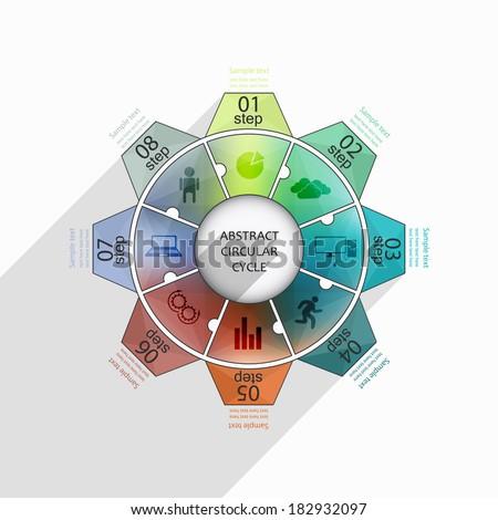 abstract geometric trendy cogwheel / circular infographics seo optimization process - stock vector
