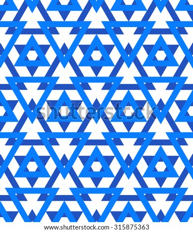 Abstract geometric vector pattern in blue color. Elegant background with David stars and triangles. Bold print for Jewish wedding invitation or wrapping gift paper. Seamless texture for Hanukkah card - stock vector