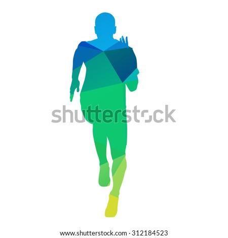 Abstract geometric vector runner - stock vector