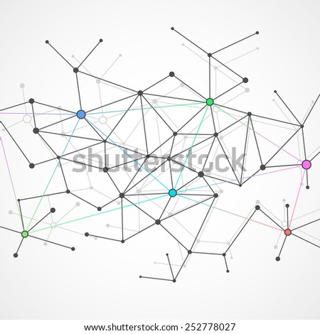 Abstract geometrical background with molecule structure. Vector illustration, eps 8. - stock vector