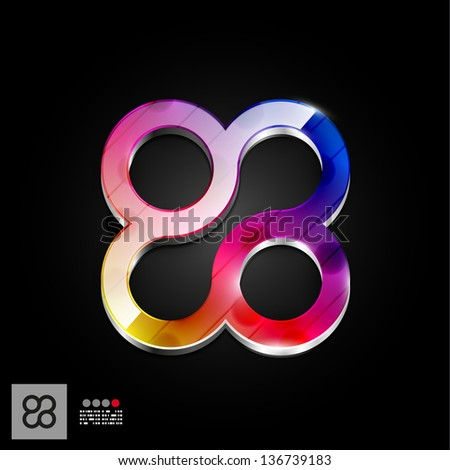 Abstract geometrical icon - circles, rounded square. For technology, business. Icon, symbol, tag, - stock vector