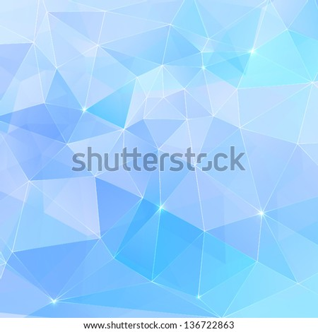 Abstract geometry blue crystals seamless pattern - stock vector