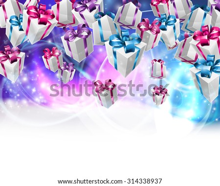 Abstract gifts or presents Christmas or birthday header purple blue background. Fades to white at the bottom for easy use as border design or header. - stock vector
