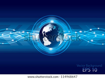 Abstract global earth technology background, vector - stock vector