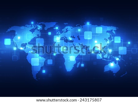 Abstract global technology telecoms background, vector illustration - stock vector
