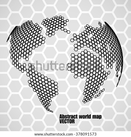 Abstract globe earth of hexagons. Vector illustration. Eps 10 - stock vector