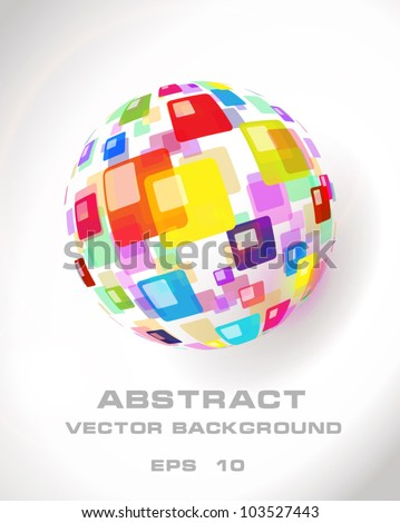 Abstract globe icon made from color pattern - stock vector