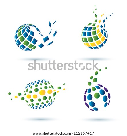 Abstract globe set of vector icons, business concept - stock vector