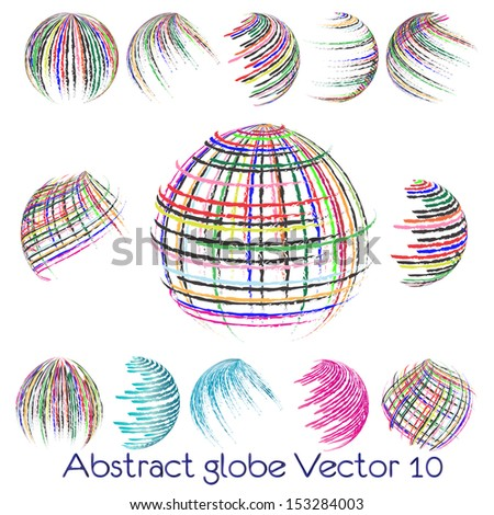 abstract globe symbol, isolated vector icon - stock vector