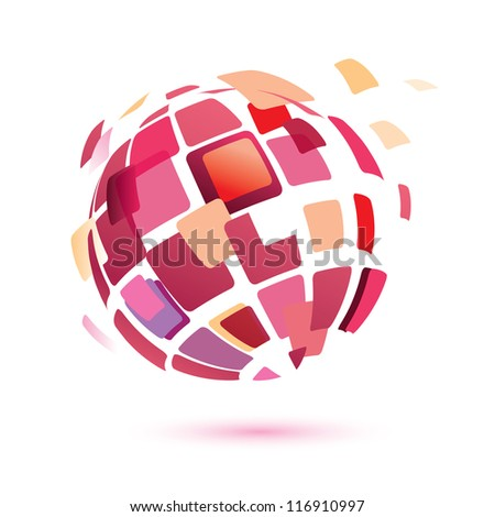 abstract globe symbol, isolated vector icon, business concept - stock vector