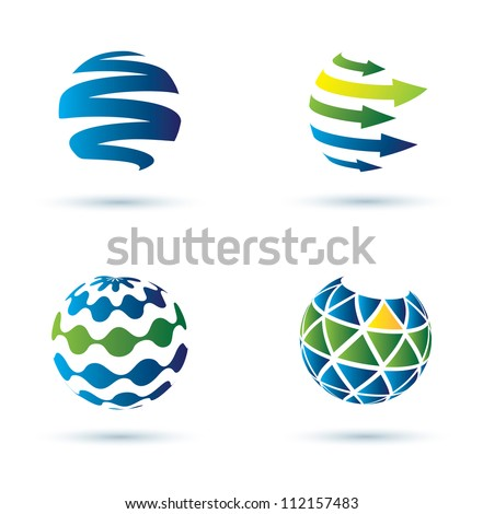 Abstract globe vector icons, business concept - stock vector
