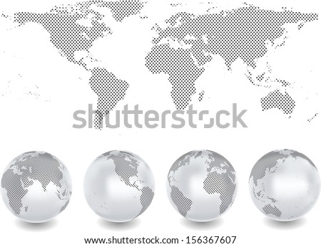 Abstract globes with abstract world map  - stock vector