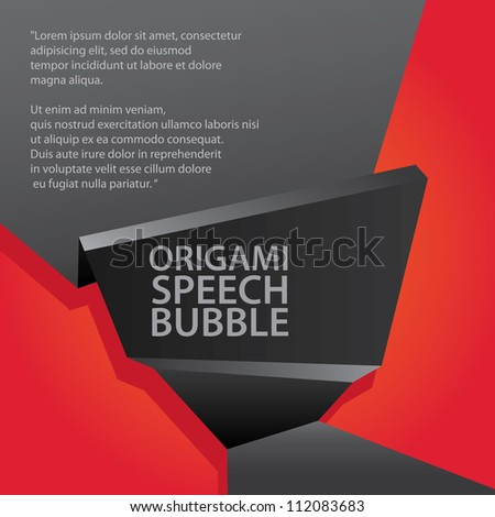 Abstract glossy black and red origami speech bubble. Vector abstract background. - stock vector