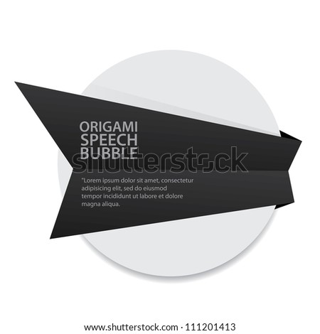 Abstract glossy black origami speech bubble. Vector dark abstract background. - stock vector