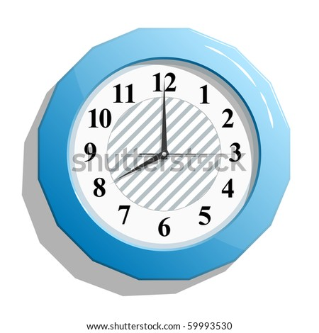 Abstract glossy blue clock icon. Vector illustration. EPS8 - stock vector