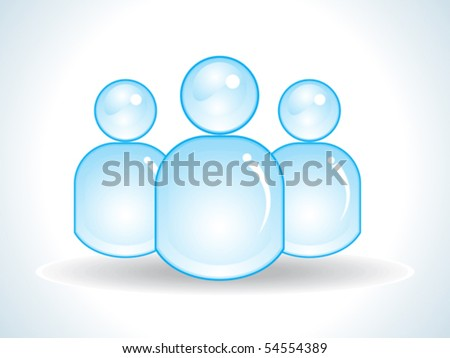 abstract glossy blue user icon vector illustration - stock vector
