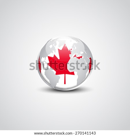 Abstract glossy globe in background Canada flag | Vector flag button - stock vector