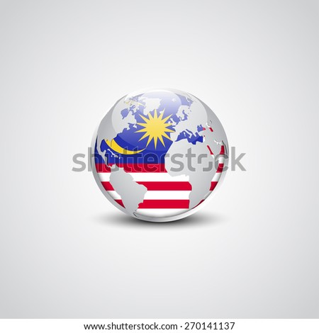 Abstract glossy globe in background Malaysia flag | Vector flag button - stock vector