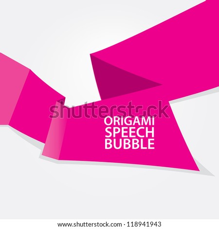 Abstract glossy pink origami speech bubble. Vector abstract background. Pink brochure. - stock vector