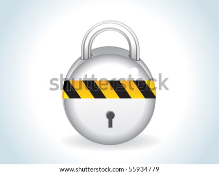 abstract glossy silver lock icon vector illustration - stock vector