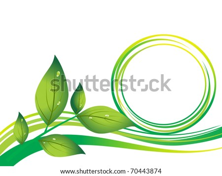 abstract go green background with leaf - stock vector