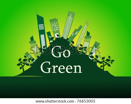 abstract go green concept background, vector illustration - stock vector