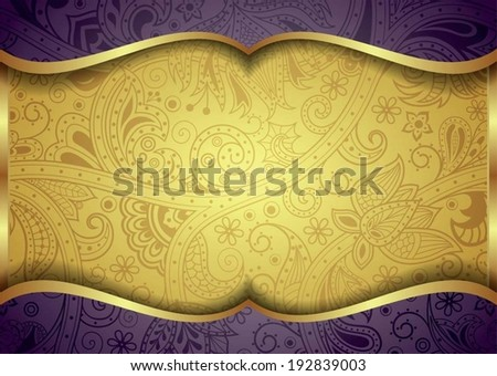 Abstract Gold and Purple Floral Frame Background - stock vector
