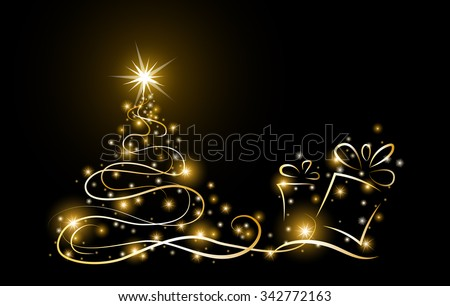 abstract gold christmas tree with glowing stars and present box on black background, vector illustration - stock vector