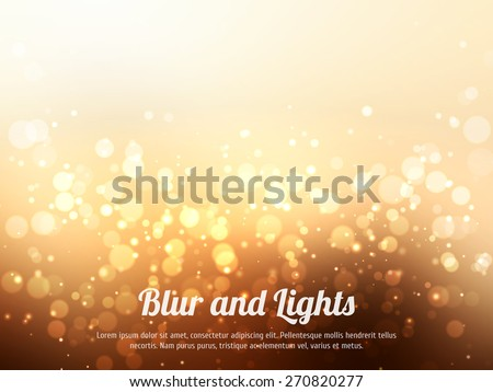 Abstract gold colorful bokeh background. Festive background with defocused lights. Magical background with colorful bokeh. - stock vector