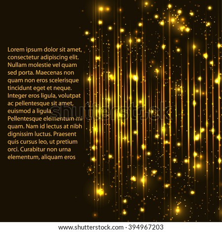 abstract gold frame with many light lines - stock vector
