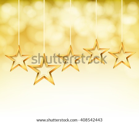 abstract gold stars on ropes. vector background - stock vector
