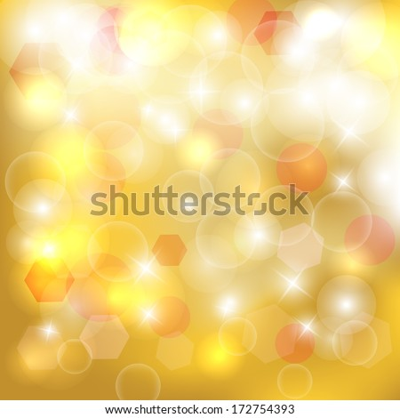 Abstract golden bokeh background. Magic background glitter bokeh lights. Defocused lights background with space for your text. Vector illustration /EPS10 - stock vector