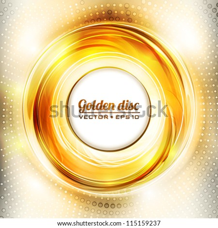 Abstract golden disk. Vector - stock vector