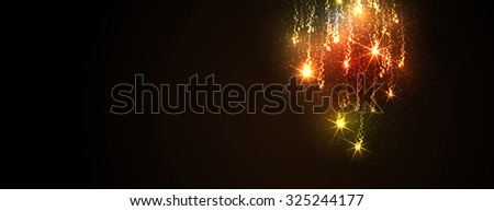 Abstract Golden Meteor Shower Panorama - Firework Falling Stars Trail - Dark Background Banner. Website Head Template - New Years Eve or Christmas Season Cards - Colorful, Twinkling and Glittering. - stock vector