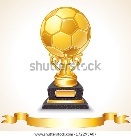 Abstract Golden Soccer Trophy. Vector Illustration - stock vector