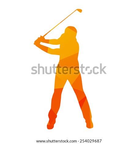 Abstract golfer silhouette - stock vector